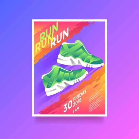 Run Run Run Health Estilo de vida Flyer Vector