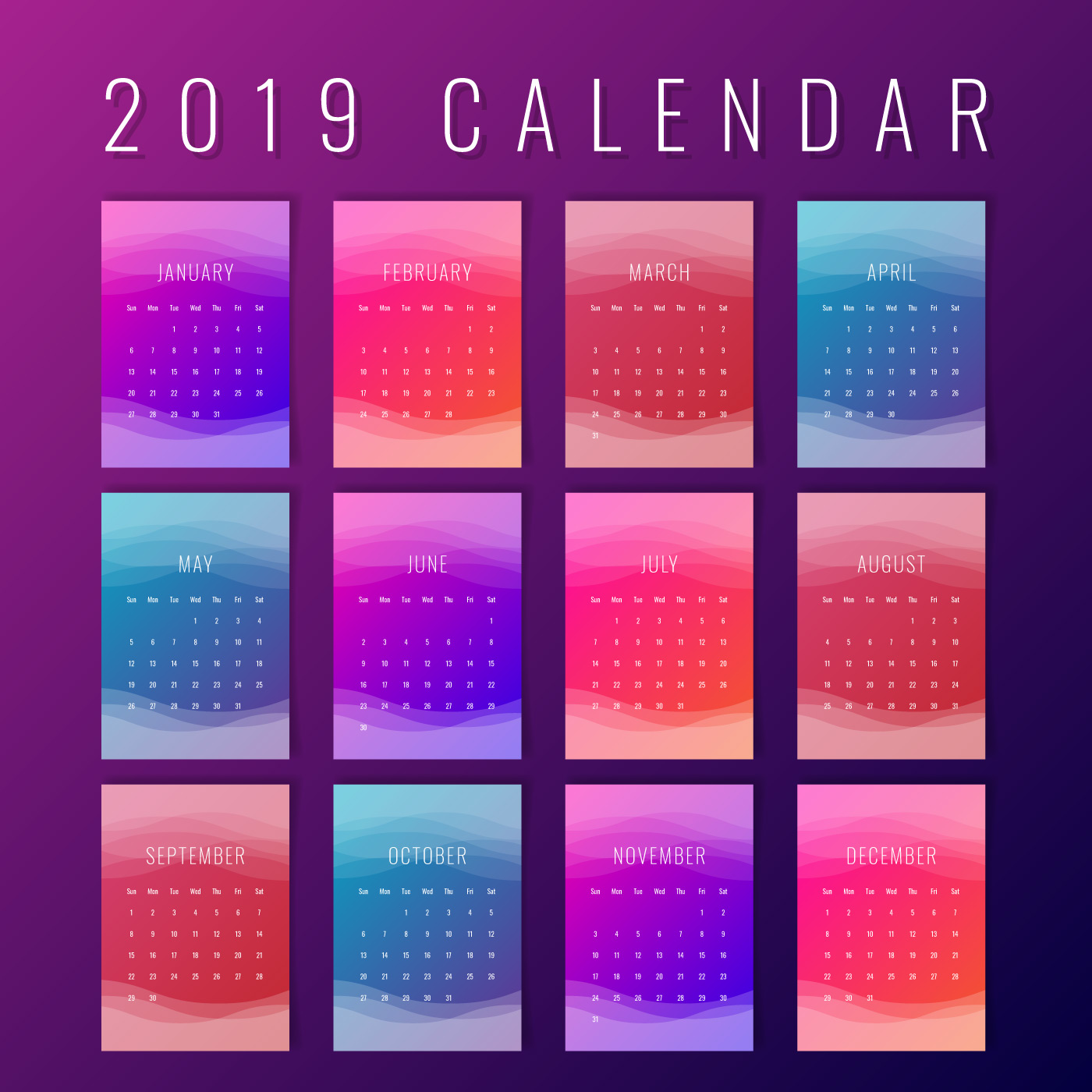 Calendar 2019 Colorful Printable Creative Templates ...