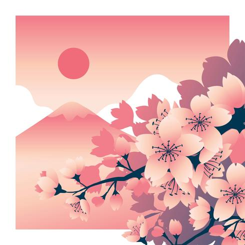 Fleur de cerisier fleur avec montagne Fuji à l'arrière-plan