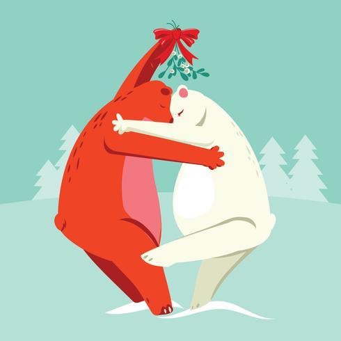 Ilustração, de, dois, ursos, beijando, sob, a, mistletoe