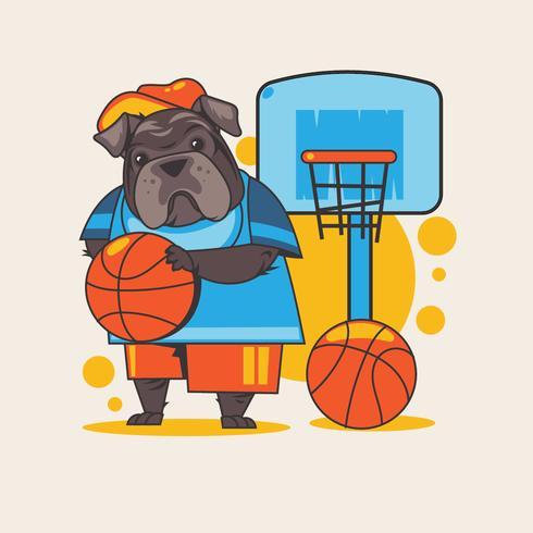 Buldogue Inglês Animal segurando uma bola de basquete