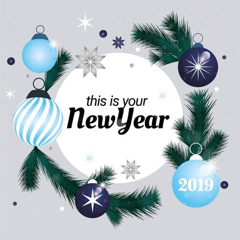 Diseño de tarjeta de felicitación de año nuevo de vector