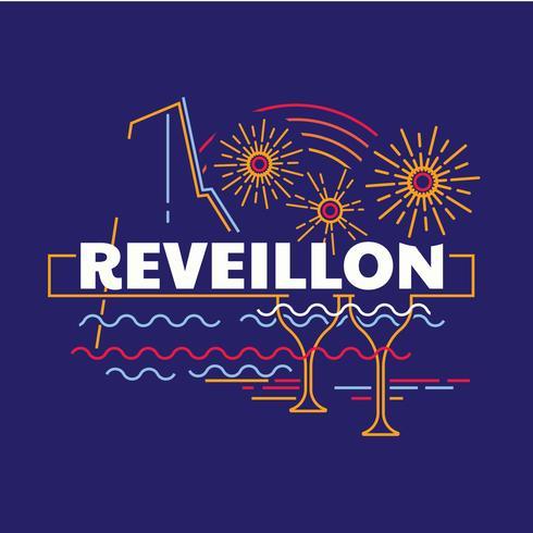 Desenho de arte de linha de Reveillon vetor
