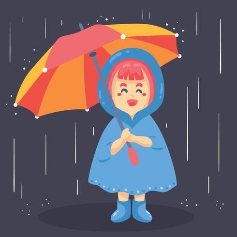 Klein meisje houdt paraplu Vector