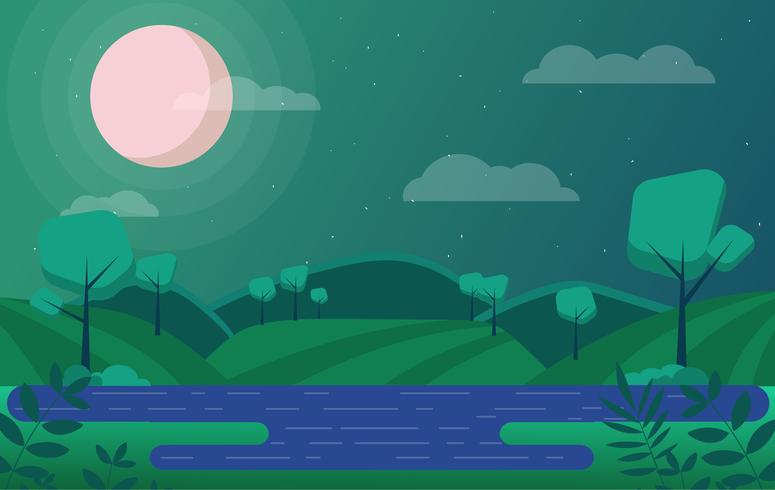 Vetorial, verde, paisagem, ilustração