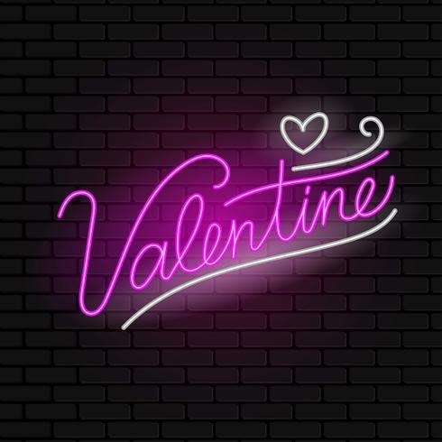 Vector de signo de neón de San Valentín