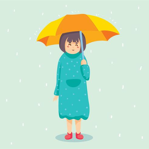 Menina segurando guarda-chuva vector