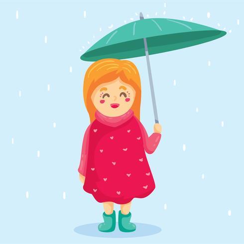 Belle fille tenant vecteur de parapluie