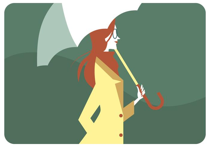 Rotes Haar-Mädchen, das Regenschirm-Vektor hält