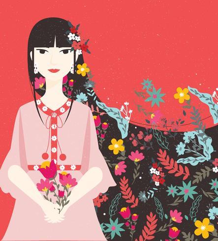 Meisje met bloemen Vol 2 Vector