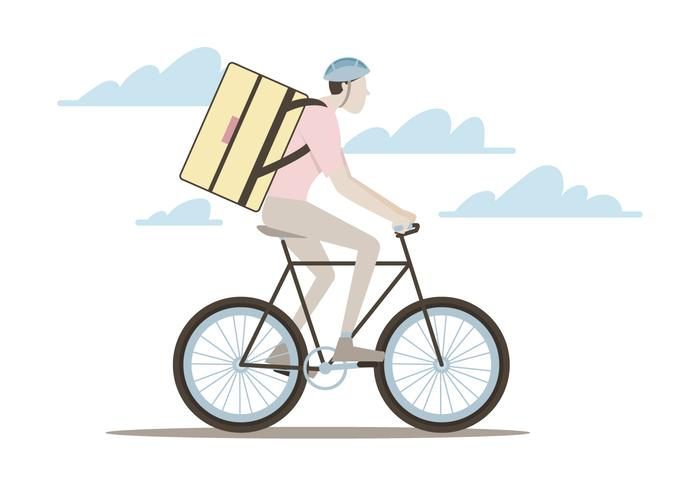 Hombre mensajero bicicleta vector