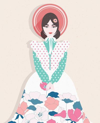 Menina com vestido de flores vector
