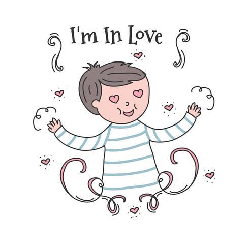 Menino em vetor de amor