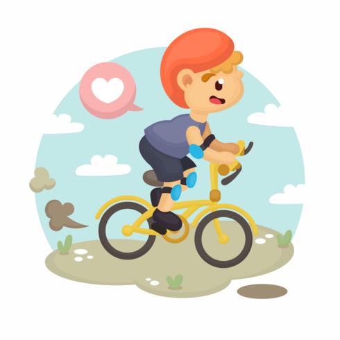 Vetor de menino de bicicleta