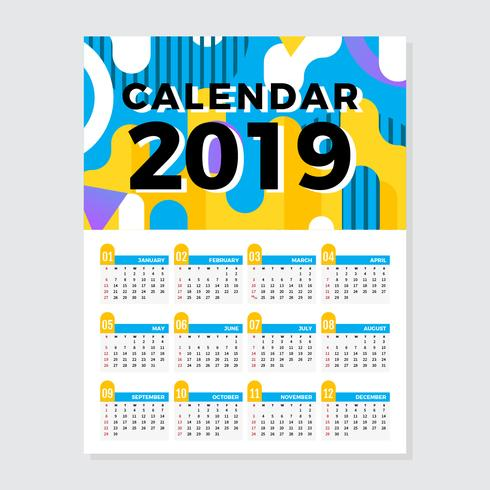 Calendario imprimible 2019 vector