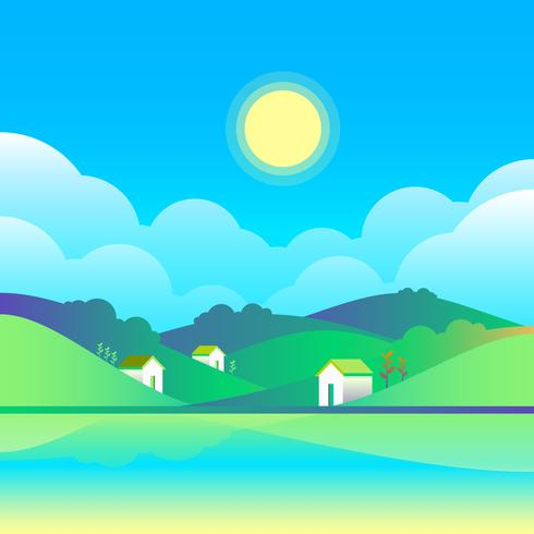 Spring Rural Landscape With Cozy Houses On A Meadow Vector Illustration