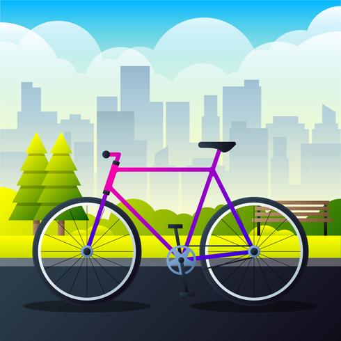 Sport Stad Fiets Op Een Park Road Vector Illustratie