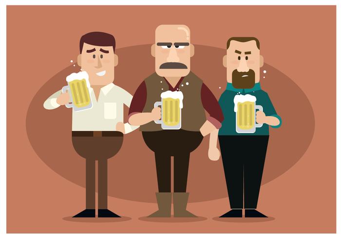 Trois gars buvant de la bière