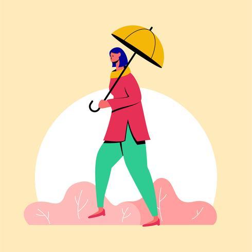 guarda-chuva de exploração de menina