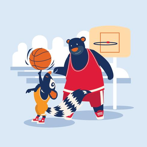street basketball player bear and squirrel