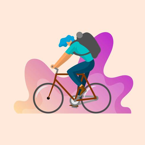 Flat Male Character Rides Bicycle Vector Illustration