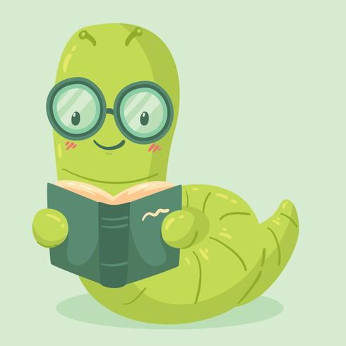 Cute Bookworm Vector