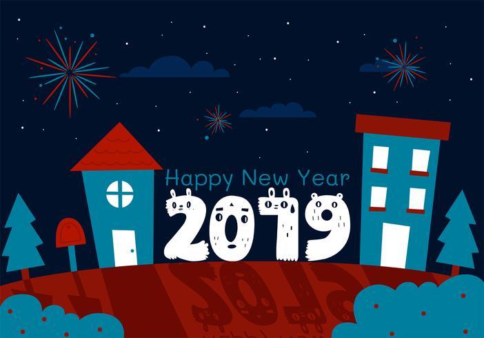 Feliz ano novo 2019 Vector Design