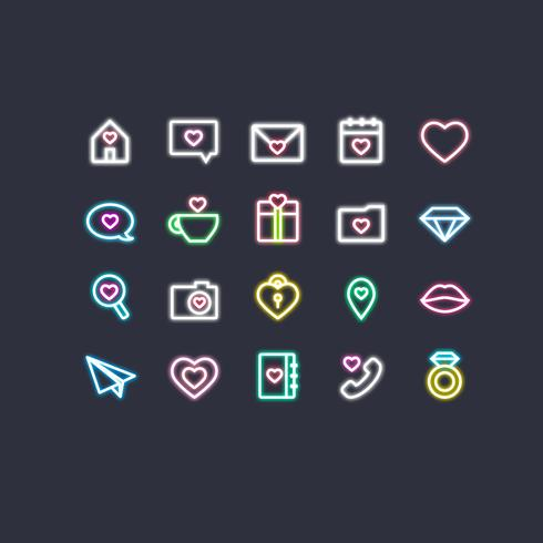 Saint-Valentin Neon Icons vecteur