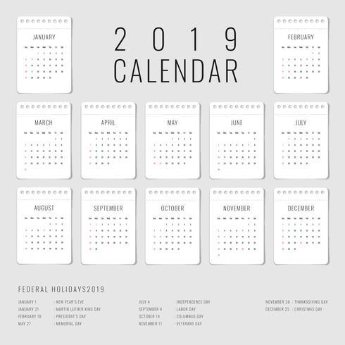 Calendario imprimible 2019 conjunto de 12 plantillas mensuales vector