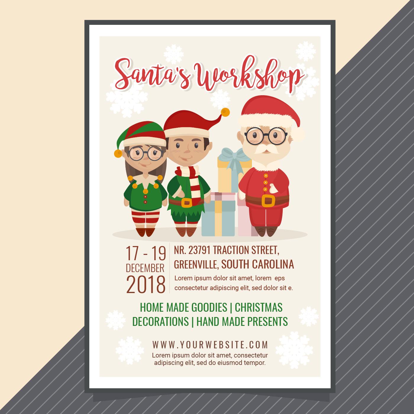 vector santa u0026 39 s workshop poster