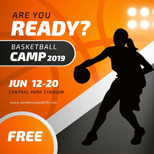 Modelo de cartaz de acampamento de basquete com silhueta de jogador feminino vetor