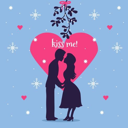 Couple Under Mistletoe Vector