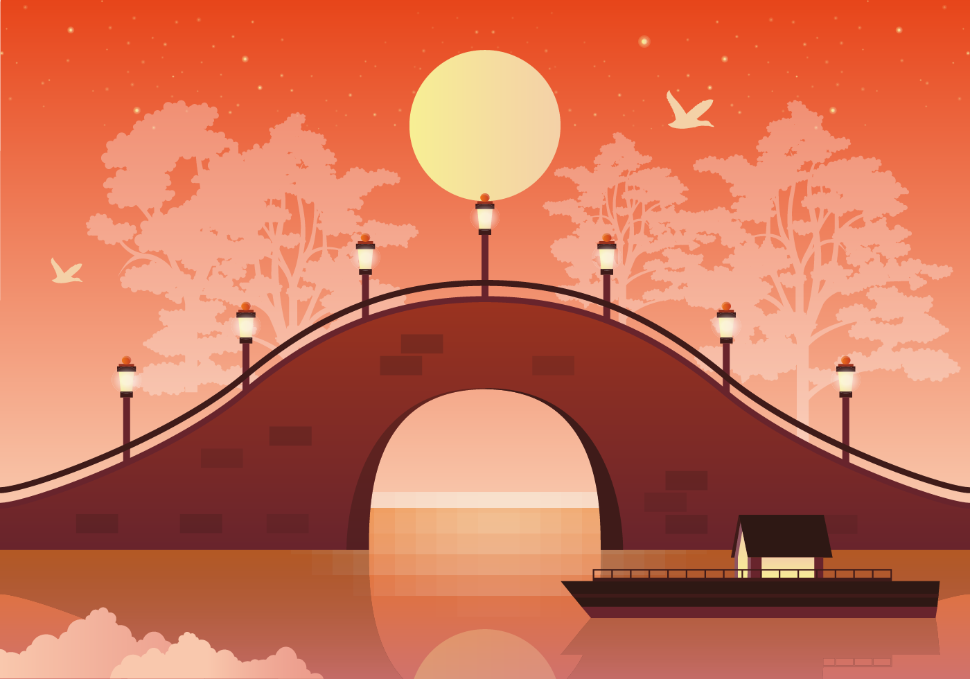 Landscape Illustration Vector Free: Vector Landscape Bridge Illustration