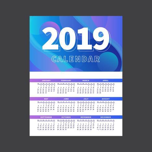 2019 druckbare Kalendervorlage