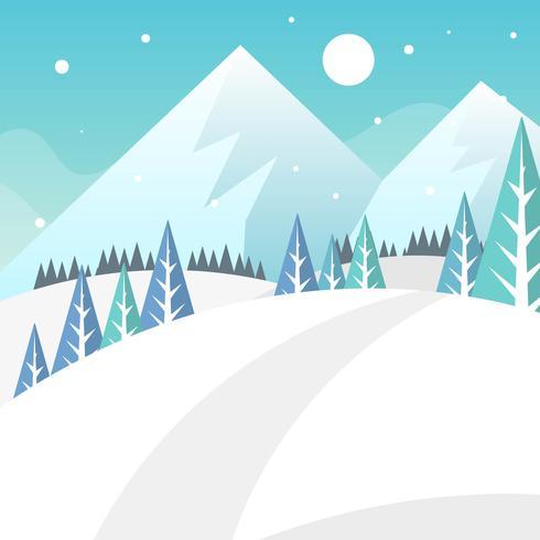 Illustrazione piana del fondo di vettore del paesaggio della foresta di inverno