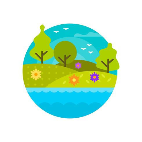 Flat Modern Spring Landscape In Circle Frame Vector Illustration