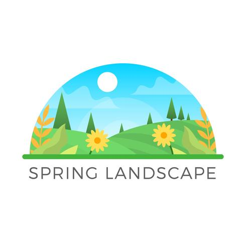 Flat Modern Spring Landscape In Frame Illustration  vector