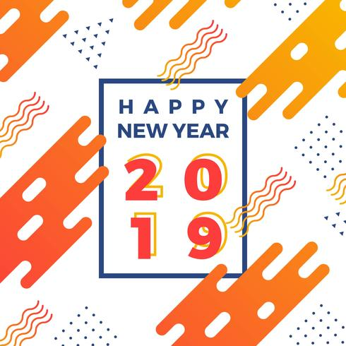 Flat Abstract Happy New Year 2019 Vector Illustration