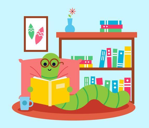 Bücherwurm mit Brille ein Buch zu lesen