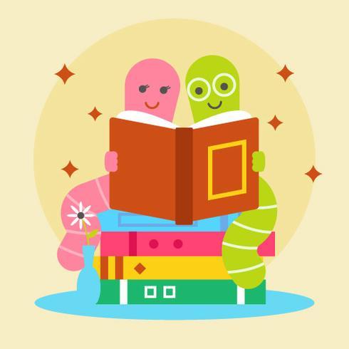 Paar Bücherwurm Lesebuch Vektor