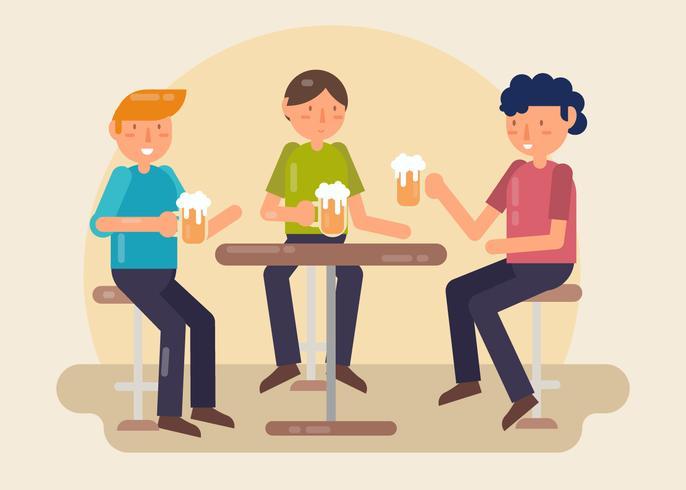 Chicos bebiendo cerveza en Bar Vector