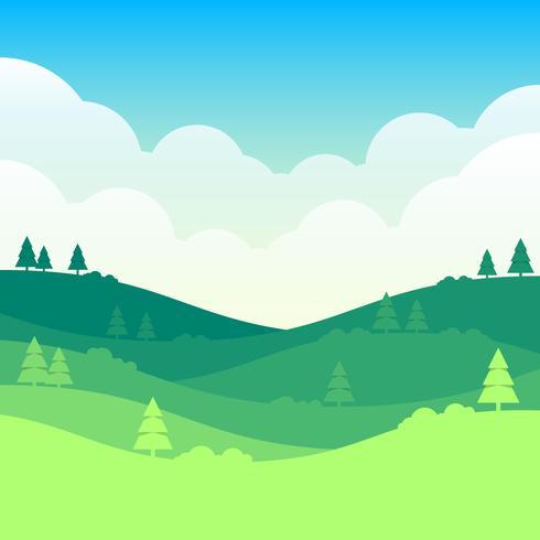 Fond de paysage de printemps avec nuages et illustration de prairie verte