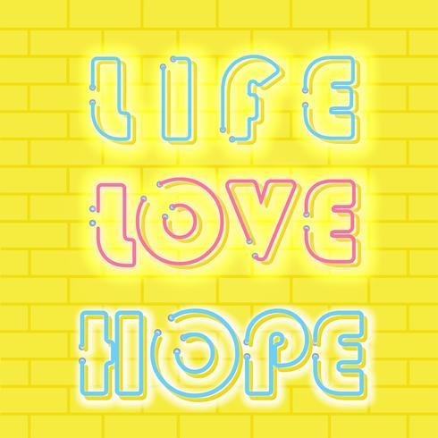 Vida amor Lust Neon Vector diseño