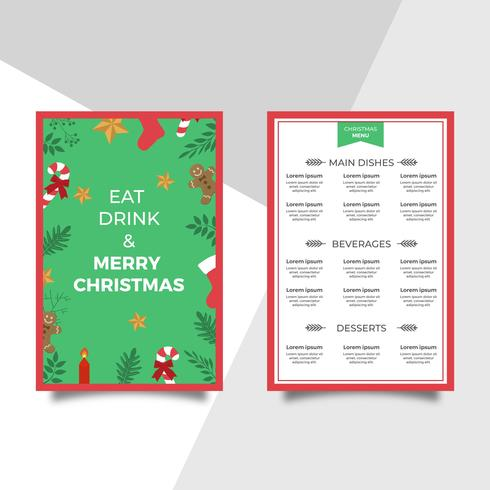 Modèle de vecteur de menu dîner de Noël plat