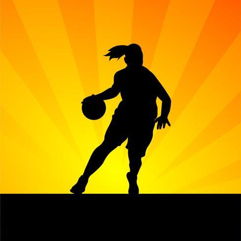 silhueta de jogador de basquete feminino vetor