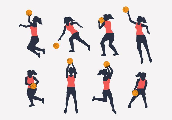 vrouwelijke basketbal speler silhouet vector