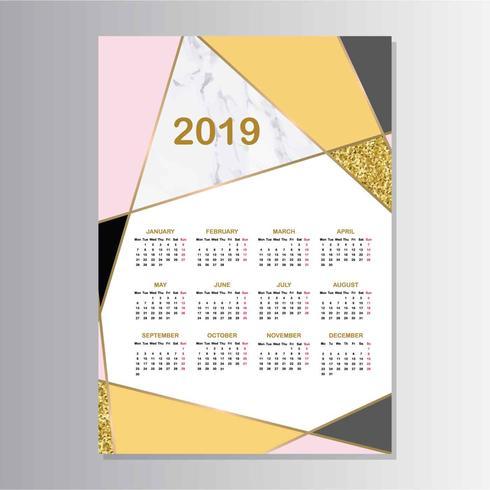 Prinable abstrakter geometrischer Kalender 2019