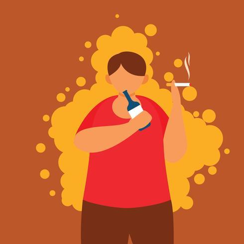 Kerl Bier trinken und Rauchen