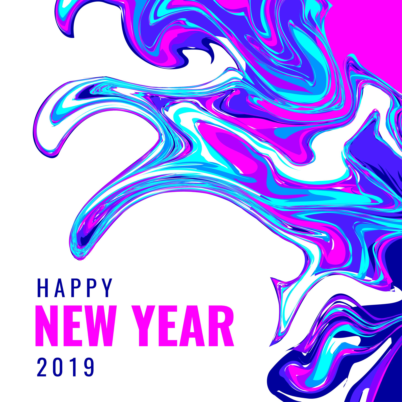 Vector Illustration Instagram: Happy New Year Instagram Post Marble Background