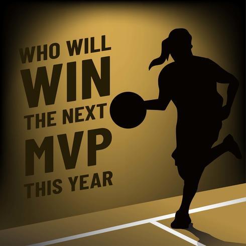 Modelo de Banner de MVP com silhueta de jogador de basquete feminino